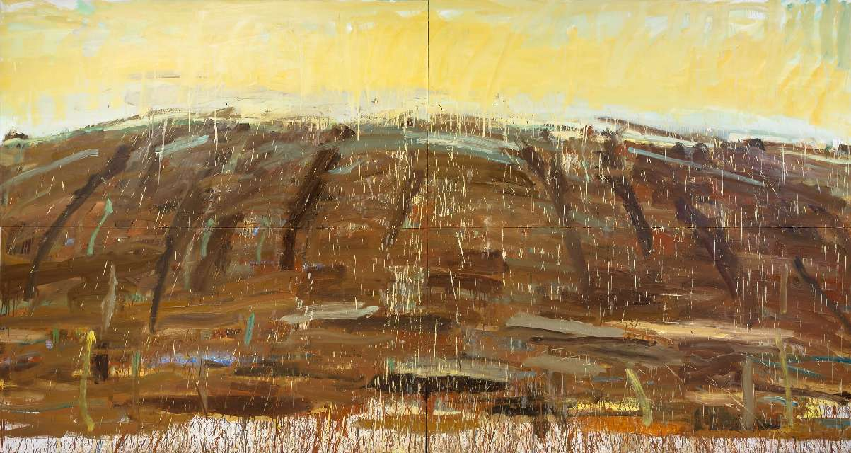 Kristina Mažeikaitė (g. 1987) Degančios saulės namai 2017, drobė, aliejus, poligrafiniai dažai, 220 x 420