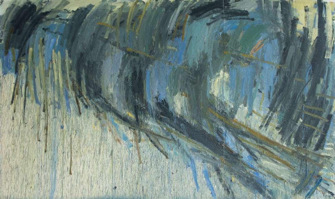Kristina Mažeikaitė (g. 1987) Vieniša kriaušė 2017, drobė, aliejus, poligrafiniai dažai, 270 x 450