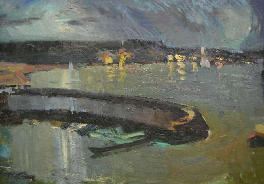 Sergejus Gračiovas (1922–1993)  Prieplauka naktį 1976, kart., al., 52,5 x 72,5 Sign. AK: parašas 76