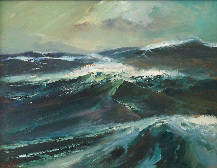 Sergejus Gračiovas (1922–1993)  Okeano bangos 1987, kart., al., 66,5 x 82,5  Sign. AK: Γpaчёв 87
