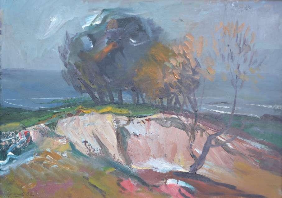 Sergejus Gračiovas (1922–1993)  Medžiai prie jūros 1982, kart., al., 50 x 70 Sign. AK: parašas 82