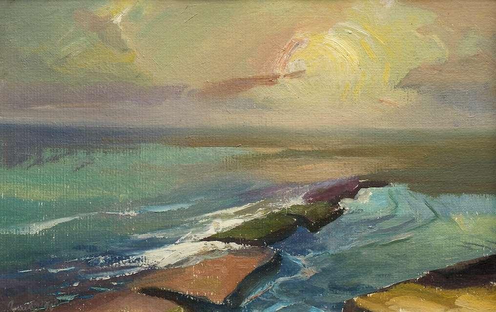 Sergejus Gračiovas (1922–1993) Rytas prie jūros 1990, kart., al., 39,3 x 60 Sign. AK: Γpaчёв 90