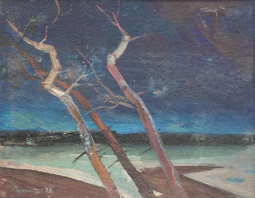 Sergejus Gračiovas (1922–1993) Naktis prie jūros 1979, kart. al., 40 x 50 Sign. AK: Γpaчёв 79