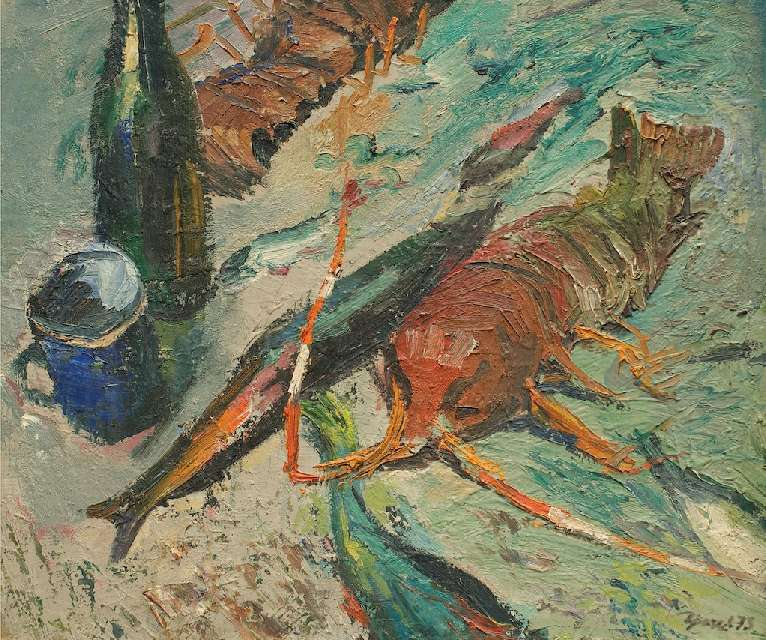 Sergejus Gračiovas (1922–1993)  Langustai 1973, kart., al., 55 x 64 Sign. AD: Γpaчёв 73
