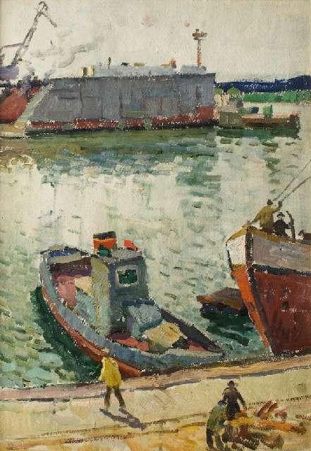 Sergejus Gračiovas (1922–1993)  Kaliningrado uostas II XX a. 6-7 d-metis, kartonas, aliejus, 58,5 x 40,9