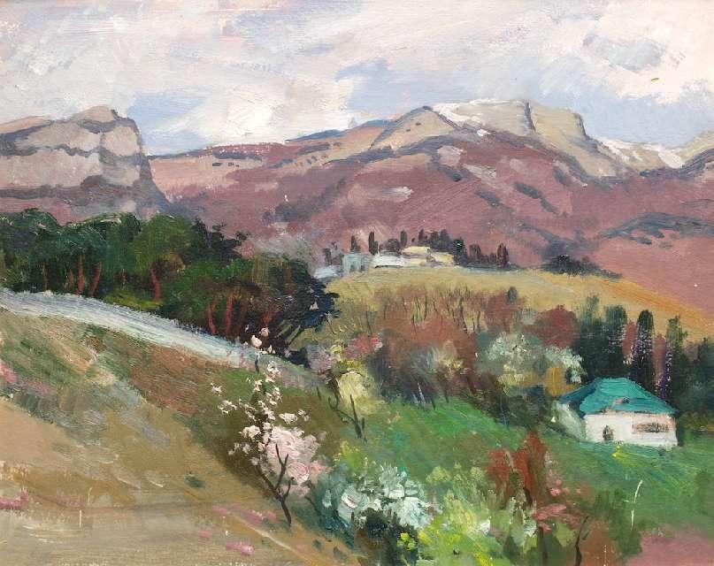Sergejus Gračiovas (1922–1993)  Pavasaris kalnuose 1980, kart., al., 40 x 49,5