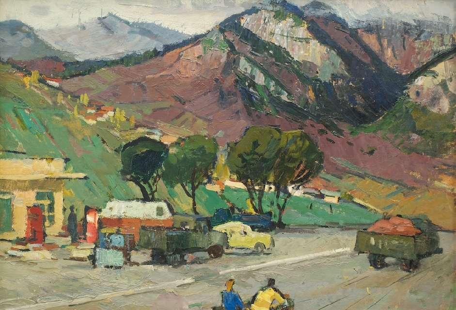 Sergejus Gračiovas (1922–1993)  Benzino kolonėlė kalnuose XX a. 6–7 d–metis, kart., al., 48,2 x 68,8
