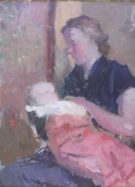 Sergejus Gračiovas (1922–1993)  Žmona su dukra 1957, kartonas, aliejus, 37,5 x 28,5