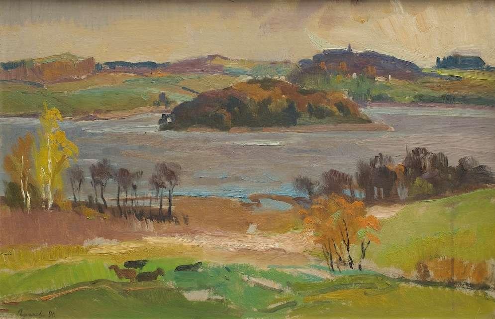 Sergejus Gračiovas (1922–1993)  Sudervės ežeras 1990, kartonas, aliejus, 37 x 55