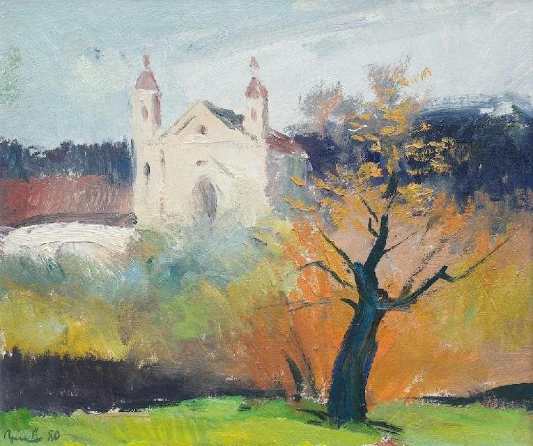 Sergejus Gračiovas (1922–1993)  Rudeniško Vilniaus peizažas su bažnyčia 1980, kart., al., 46 x 54,5 Sign. AK: parašas 80